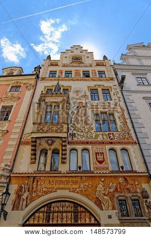 PRAGUE, CZECH REPUBLIC - JULY 3, 2014: Historical house facade of the Wenzel Storch house in the Old Town Square. The city centre of Prague is listed under the UNESCO world heritage sites.