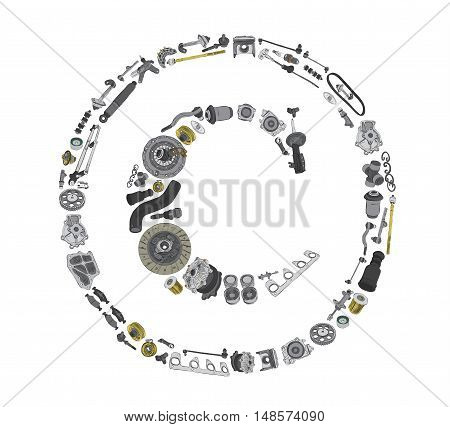 Many auto spare parts in copyright icone