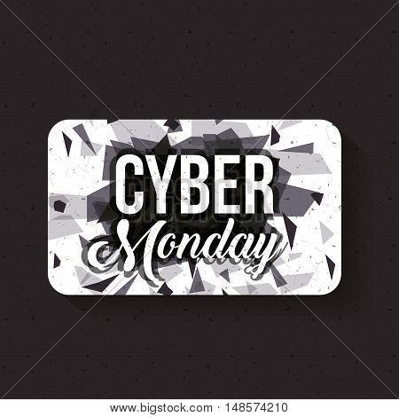 Cyber Monday and frame icon. ecommerce sale decoration and advertising theme. Black and white design. Vector illustration