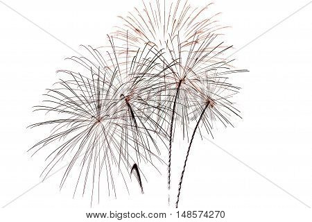 Festive bright beautiful colorful fireworks salute on a white background