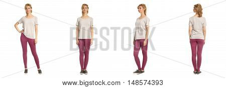 Cute Woman In Footless Tights Isolated On White Background