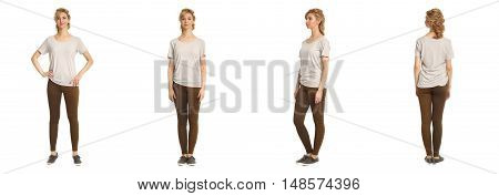 Cute Woman In Brown Footless Tights Isolated On White Background