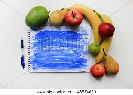 Light blue watercolor painted splash background with colorful organic fresh fruits apple banana pear peach mango berries isolated on white table. Dieting fitness planning, healthy eating food nutrition sport lifestyle concept with empty copy space for tex