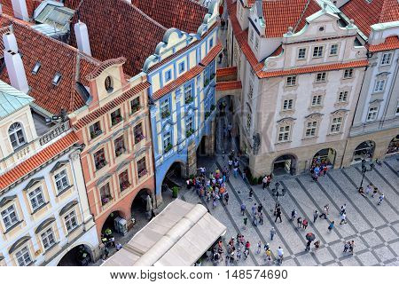 Old Town square with tourist crowd in Prague Czech Republic view from above.