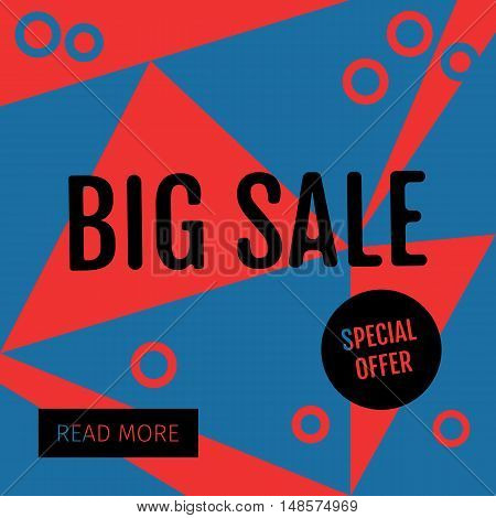 Big Sale template with special offer. Vector illustrations for social media banners, posters, email and newsletter designs, ads, promotional material, website and mobile website. Geometric design