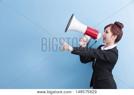 business woman take microphone happily with isolated on blue background