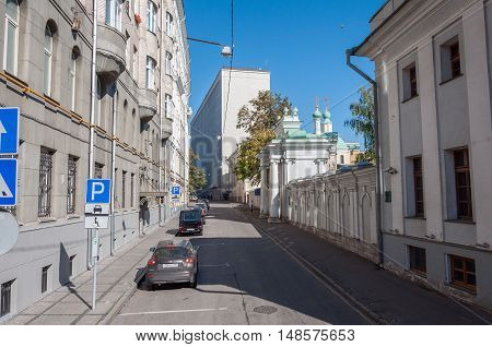 Moscow, Russia - 09.21.2015 Starovagankovsky alley and the temple of St Nicholas