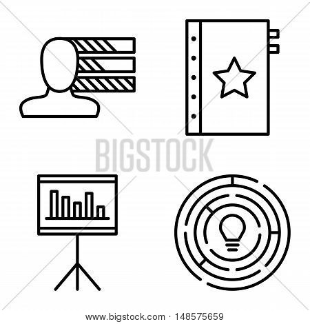 Set Of Project Management Icons On Personality, Creativity And Quality Management. Project Managemen