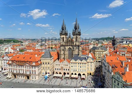 PRAGUE CZECH REPUBLIC - JULY 3 2014: Aerial view of the Old Town Square with the Tyn Church from the Old Town Hall.
