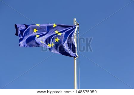 Flag Of European Union On A Flagpole