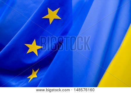 European Community flag with yellow stars with side light