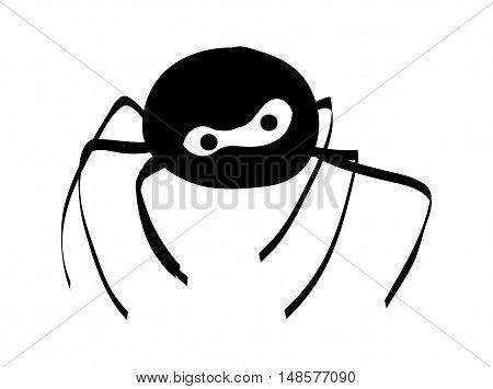 Halloween Creepy Scary Spider Silhouette Vector Symbol Icon Design.