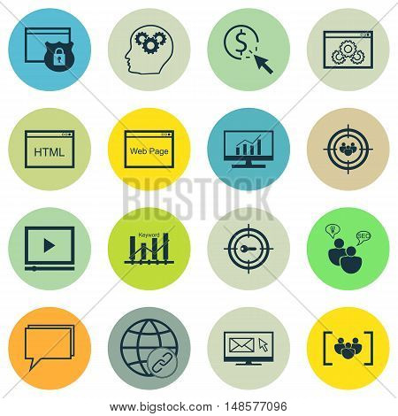 Set Of Seo, Marketing And Advertising Icons On Website Optimization, Keyword Ranking, Seo Consulting