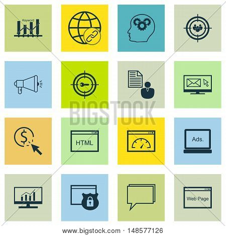 Set Of Seo, Marketing And Advertising Icons On Creativity, Target Keywords, Html Code And More. Prem