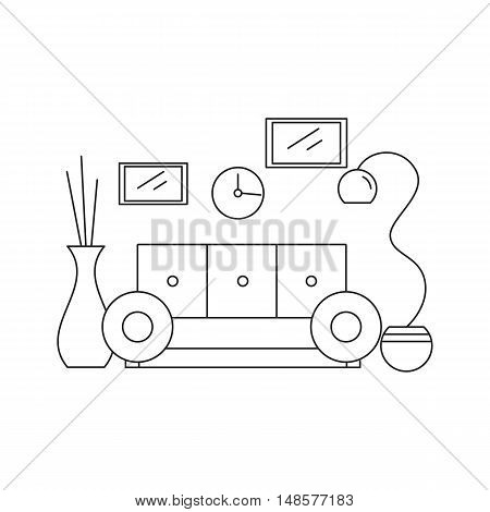Interior design living room in the house or hotel. Lounge style line. Vector illustration.