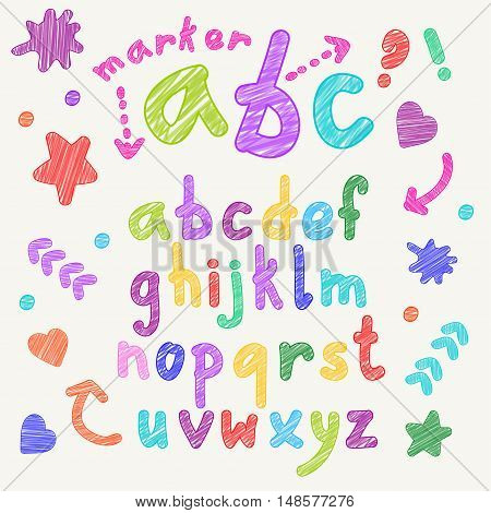 Vector marker english lowercase alphabet with shapes and signs. Scribbled colorful letters.