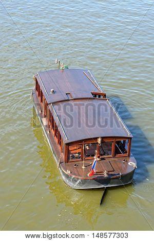 A cruise boat in Vltava river Czech Republic.
