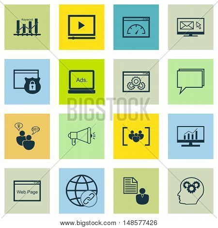 Set Of Seo, Marketing And Advertising Icons On Focus Group, Display Advertising, Video Advertising A