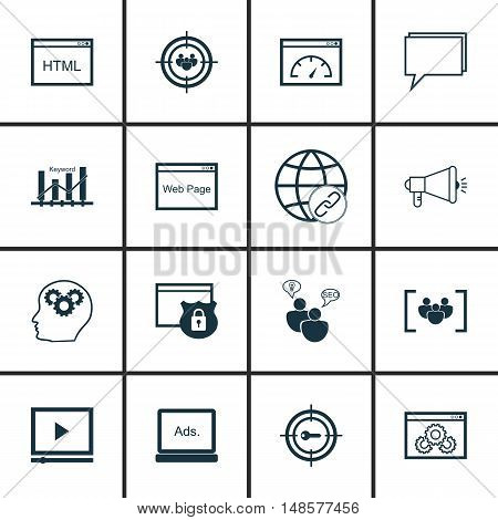 Set Of Seo, Marketing And Advertising Icons On Viral Marketing, Video Advertising, Html Code And Mor