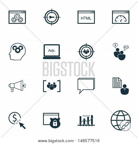 Set Of Seo, Marketing And Advertising Icons On Target Keywords, Audience Targeting, Website Protecti
