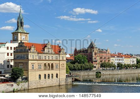 View from the Charles bridge to Smetana museum on the right bank of the river Vltava in the Old Town of Prague. It is dedicated to the life and works of famous Czech composer Bedrich Smetana.