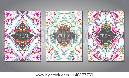 Vector set of geometric colorful brochure templates for business and invitation. Ethnic tribal aztec style. A4 format. Modern ethno ikat pattern