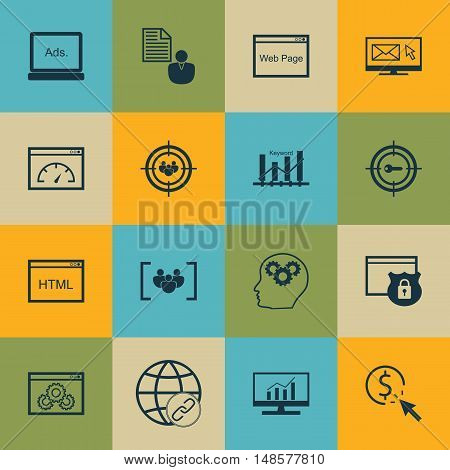 Set Of Seo, Marketing And Advertising Icons On Link Building, Comprehensive Analytics, Pay Per Click