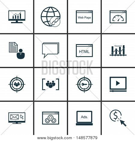 Set Of Seo, Marketing And Advertising Icons On Focus Group, Keyword Ranking, Page Speed And More. Pr