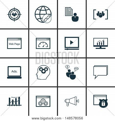 Set Of Seo, Marketing And Advertising Icons On Website Protection, Keyword Ranking, Online Consultin