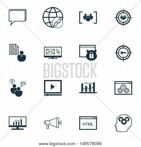 Set Of Seo, Marketing And Advertising Icons On Website Optimization, Online Consulting, Client Brief