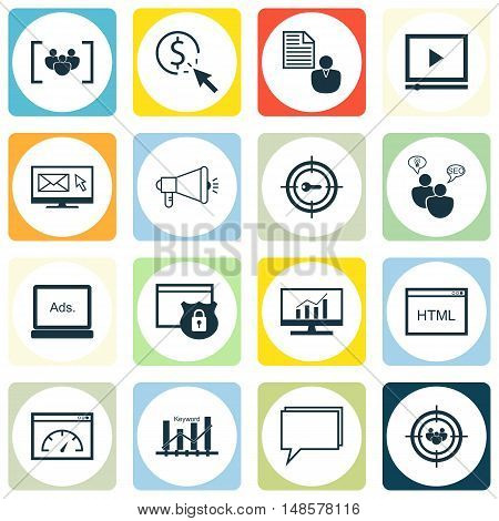 Set Of Seo, Marketing And Advertising Icons On Seo Consulting, Client Brief, Pay Per Click And More.