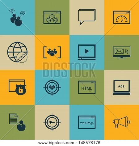 Set Of Seo, Marketing And Advertising Icons On Display Advertising, Target Keywords, Page Speed And
