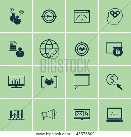Set Of Seo, Marketing And Advertising Icons On Display Advertising, Email Marketing, Seo Consulting