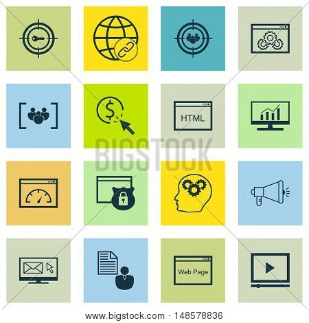 Set Of Seo, Marketing And Advertising Icons On Pay Per Click, Html Code, Link Building And More. Pre
