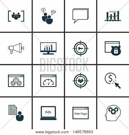 Set Of Seo, Marketing And Advertising Icons On Pay Per Click, Keyword Ranking, Client Brief And More