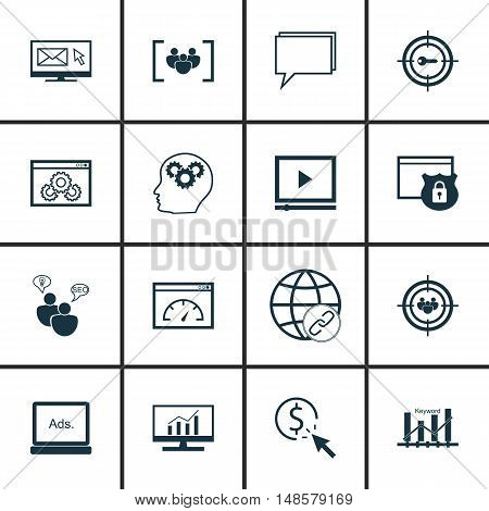 Set Of Seo, Marketing And Advertising Icons On Keyword Ranking, Email Marketing, Page Speed And More