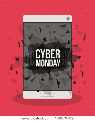 Cyber Monday and smartphone icon. ecommerce sale decoration and advertising theme. Colorful design. Vector illustration