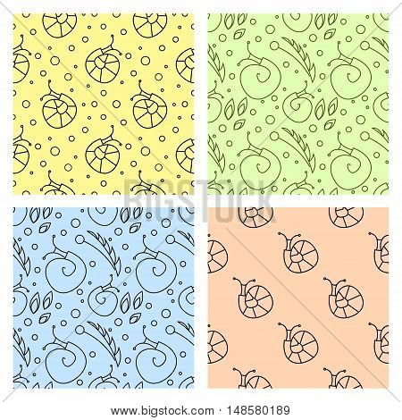 Sey of seamless vector patterns with insects different colorful backgrounds with snails flowers leaves. Graphic vector illustrations. Series - sets of seamless vector patterns.