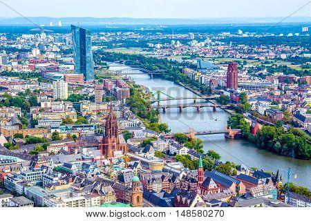 Aerial view of Frankfurt am Main Germany