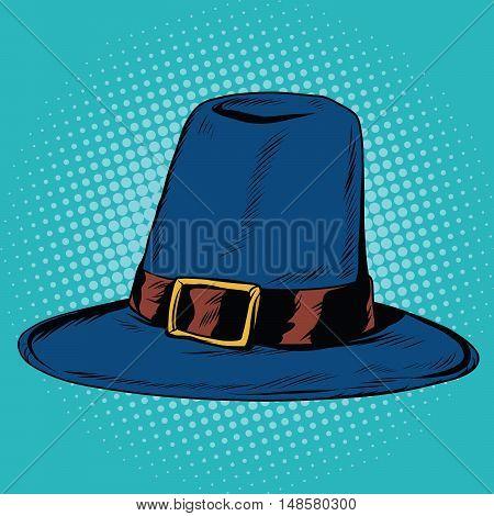 Vintage hat pilgrim, pop art retro vector illustration. Traditional religious clothing