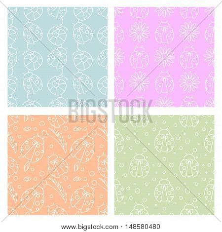 Sey of seamless vector patterns with insects different colorful backgrounds with ladybugs flowers leaves. Graphic vector illustrations. Series - sets of seamless vector patterns.