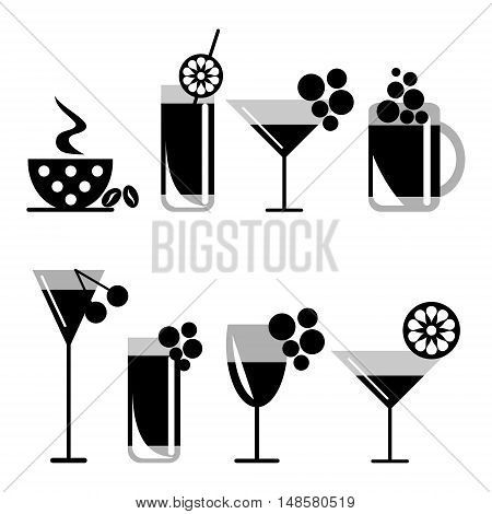 Vector set of cblack and white illustration of cocktails with fruits coffee with grains beer and wine glass isolated on the white background. Series of Food and Drink Icons and Illustrations.