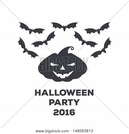 Vector Monochrome Logo Or Poster For A Holiday Halloween. Pumpkin With  Scary Face And Bats To Decor