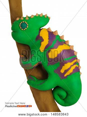 Plasticine cartoon chameleon on a branch on a white background