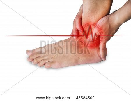 right ankle pain in men. Pain concept