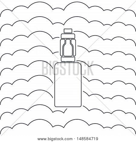 Vector icon or emblem of an electronic cigarette against the background of steam
