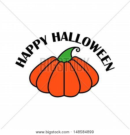 Vector Emblem Or Poster For A Holiday Halloween. Orange Pumpkin, To Decorate  Party  Celebration.