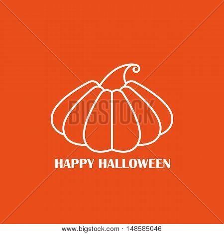 Vector White Pumpkin On Orange Background Poster, Icon Or Emblem