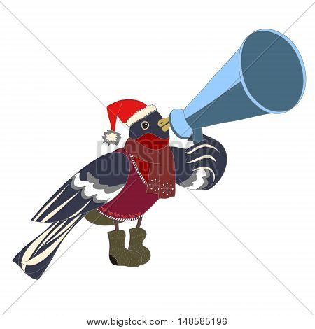vector color illustration depicting bullfinch with mouthpiece