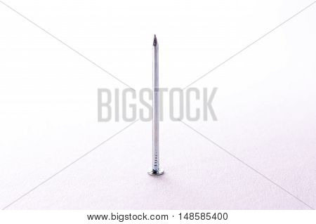 Single Nail Metal Chrome Gold Standing Laying Object Construction Background